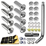 ZXFOOG Anti Theft License Plate Screws- Stainless Steel Bolts Fasteners Kits for Car Tag Frame Holder, Tamper Resistant Mounting Hardware,1/4'(M6) Security Screw Set,Rust Proof,Chrome Screw Caps Cover