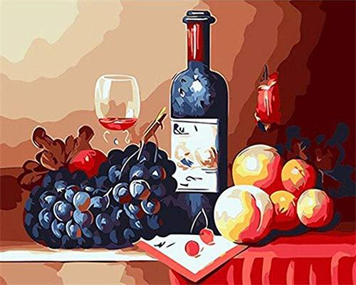 JiaHM Wine Manor Wine Drawing Copa de Vino Pintura por número 40x50cm-Contiene Marco Incorporado Decoraciones Regalos