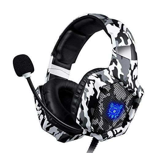 Cascos Auriculares con micrófono Gaming para Ps4 Nintendo Switch Xbox-One PC onikuma Camuflaje Blanco