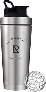 Republik Premium Stainless Steel Protein Shaker- Leak Proof Double Wall Insulation with Ergonomic Bottle Taper and Carry H...
