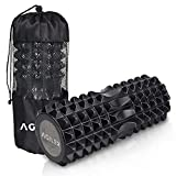 AGILER Foam Roller – 2 in 1 Deep Tissue Massager – Medium Density Muscle Roller with Solid EVA Core – Triple Grid Massage Zones – Ideal for Recovery, Muscle Pain, Increased Flexibility