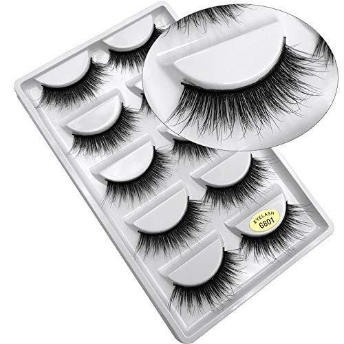 5 Paires 3D Naturel Faux Cils Réutilisable Moelleux Bande D'Oeil Cils Longue Extension -Faux Cils Pour Maquillage Quotidien, Soirée, Mariage, Fête-G801