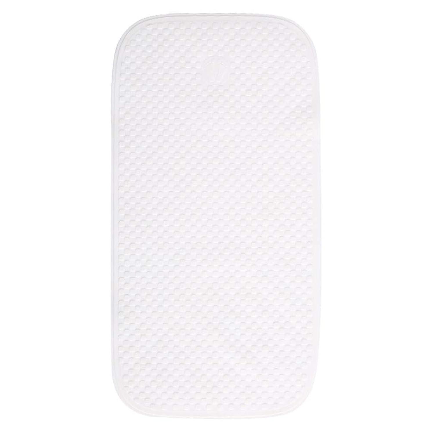 永久宝石進化するGYYARSX 浴室足ふきマット風呂ホーム子ども老人マッサージポイント柔らかい吸盤PVC、4色 (Color : White, Size : 71X38CM)