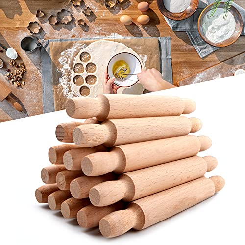 15Pcs Mini Rolling Pins for Crafts, 5.5in Long French Rolling Pin, Small Kids Rolling Pin Dough Roller, Fondant Rolling Pin Wooden Rolling Pins for Baking