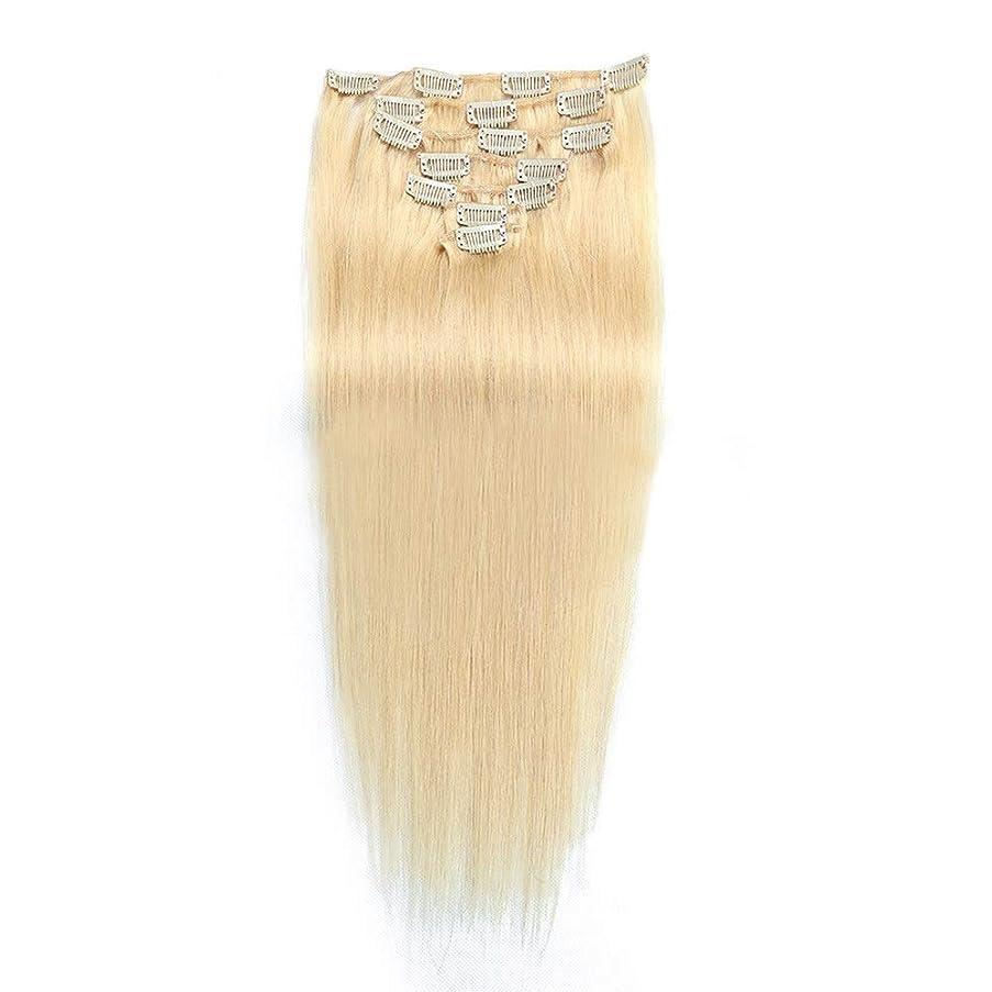 戸口勉強するあえてHOHYLLYA 20インチ70グラムクリップインヘアエクステンション人間の髪の毛#24ライトブロンド7個フルヘッドストレートロールプレイングかつら女性のかつら (色 : #24 light blonde)