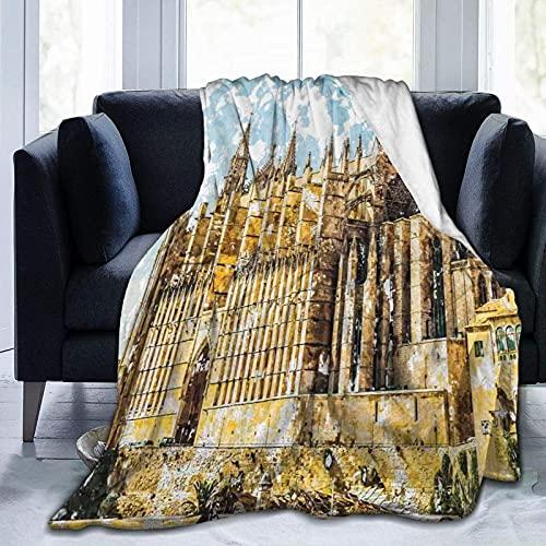 Manta mullida para cama de dormitorio con diseño gótico, catedral de Palma de Mallorca, vista desde la carretera, ultra suave, manta de cama para TV, patrón personalizado y fresco de 152 x 127 cm
