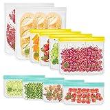 MELLIEX 10 Pezzi Sacchetti Riutilizzabili per Alimenti Sacchi Portaoggetti Congelatori Borsa Alimentari a Zip per Marinare Carne Frutta Cereali