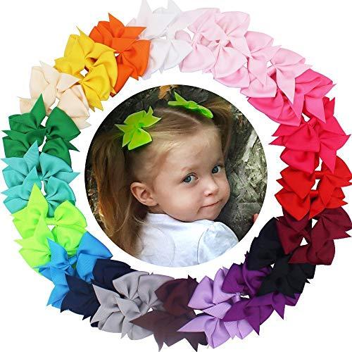 JOYOYO 40 Pcs Toddlers Hair Bows Medium Size 3.5 Inch Craft Bows Ribbon Bows Toddlers Girls Hair Bow Clips Hair Bows for Girls, In Pairs