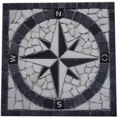 Antikmarmor Rosone 30x30 cm Windrose Mosaik Fliesen Einleger Schwarz Weiss 039