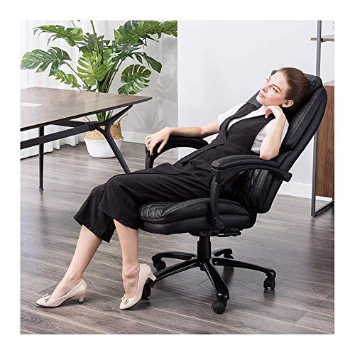 YGB High-end bureaustoel ergonomisch ontwerp ligstoel voor ontbijt pauze draaibare stoel Boss stoel zwart leer, zacht en comfortabel