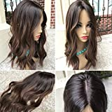 Real Human Hair Ombre Wavy Black to Brown Ombre Glueless Silk Top Full Lace Wigs For Women Human Hair
