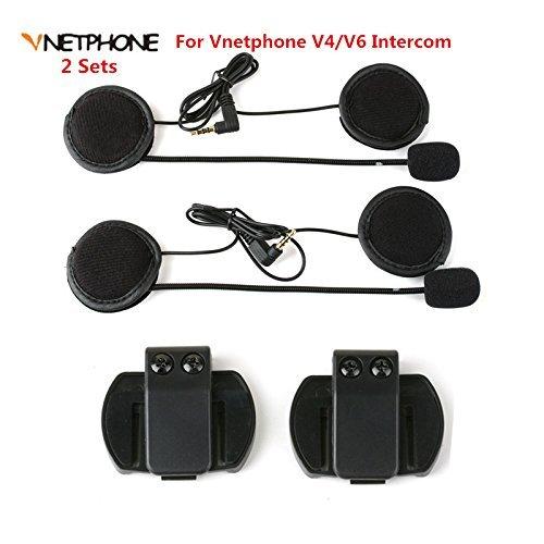 Vnetphone 2PCS Headset Microphone Headphone Speaker&Clip Accessories Suit for V6/V4 Moto Bluetooth Helmet Intercom Headset Interphone