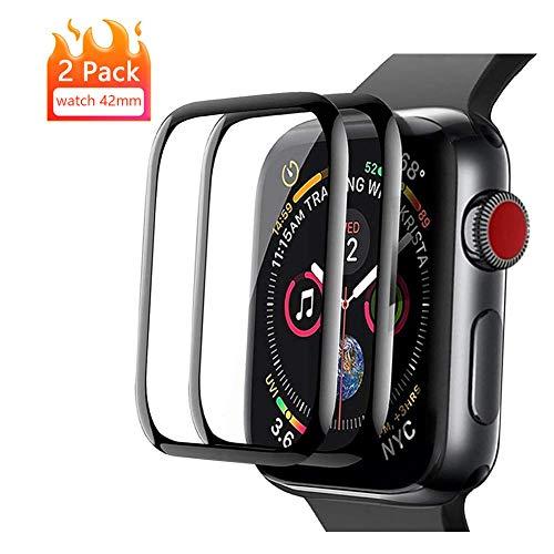 Apple Watch 42mm Vetro Temperato Pellicola Protettiva [2 Pezzi] Pellicola Proteggi Schermo Apple Watch Series 3/2/1 [3D Curved Full Coverage] Protezione Schermo per Apple Watch 42mm (Nero)