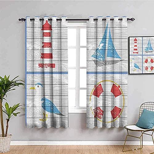 JNWVU Blickdicht Vorhang für Schlafzimmer - Boot Vogel Leuchtturm Retro - 3D Druckmuster Öse Thermisch isoliert - 280 x 260 cm - 90% Blickdicht Vorhang für Kinder Jungen Mädchen Spielzimmer