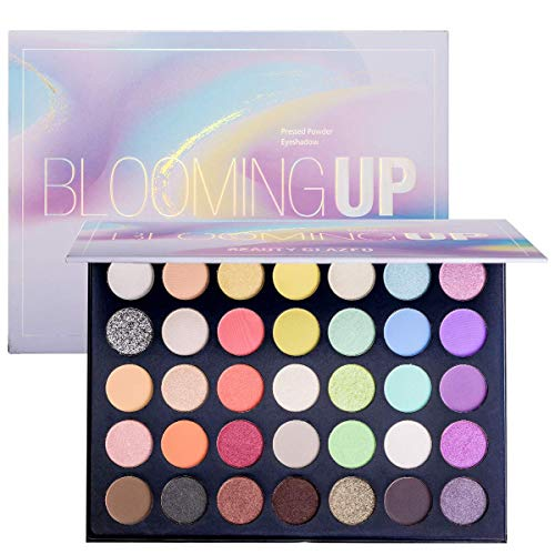 Eye Makeup Palette Glitter Matte and Shimmer Highlighter Eyeshadow Makeup Palette 35 Colors Make Up Palette Blooming Up Eye Shadow High Pigmented Blendable Waterproof and Sweatproof