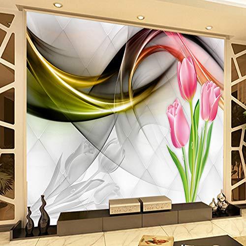 Benutzerdefinierte 3D-Fototapete Wandbild Tulpe Blumen Abstrakte Rauchkunst Wandbild Wohnzimmer Sofa TV Hintergrund Tapete Modern 200x140cm