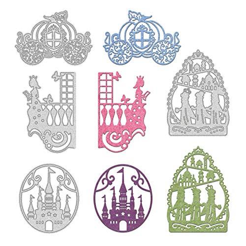 GLOBLELAND 4 Pieza de Corte de Cuento de Hadas de Metal Muere Carro de Calabaza Princesa Castillo Puerta Plantilla Plantilla para Álbum de Recortes En Relieve Álbum Tarjeta de Papel Decoración