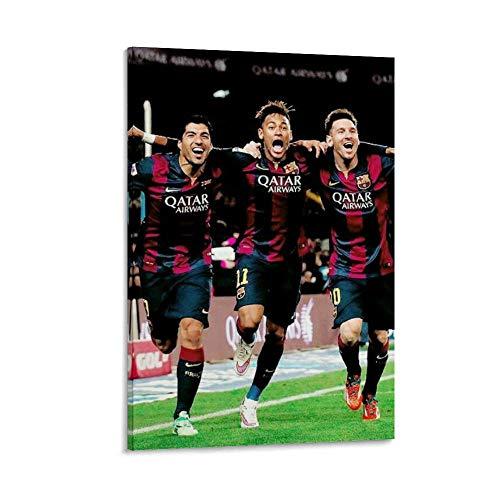 DRAGON VINES Messi Neymar Suárez - Cuadro decorativo para pared, diseño de estrella de fútbol, 60 x 90 cm