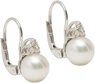 Gilu - Gioielli Orecchini In Oro Bianco 18 Kt Con Brillanti E Perle
