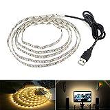 Tira de iluminación LED, luz de fondo de TV USB 6.56 Ft/2 m, luz LED para televisor HD de 40 – 60 pulgadas, no resistente al agua, blanco cálido