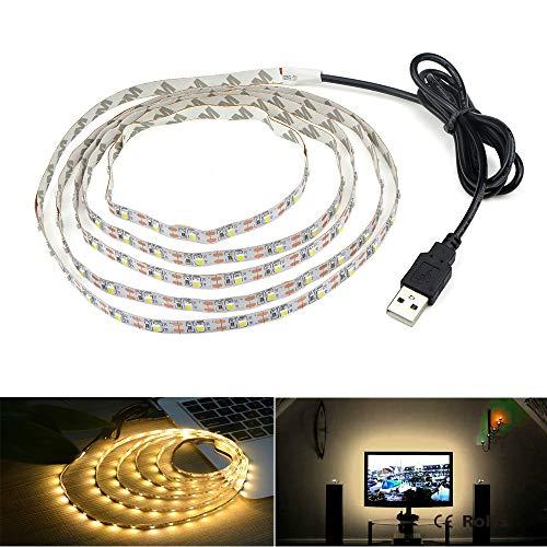 LED Beleuchtungsstreifen,USB TV Hintergrundbeleuchtung 16.4Ft/5m LED Band Licht für 40-90 Zoll HD Fernseher,Nicht Wasserdicht SMD 3528 5V warmweiß Bias Lighting,USB Bias Lighting für Heimkinos