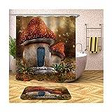 KnSam Cortina de ducha antimoho resistente al agua, cortina para baño, cortina para baño, cortina de setas, casa, 100 % poliéster, incluye 12 anillos de cortina de ducha 90 x 180 cm