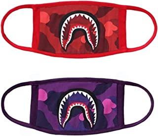 2-Pack Shark Face Mask, Bape Cotton Fashion Anti-Dust Half Face Mouth Mask for Boys and Girls (Red & Purple)