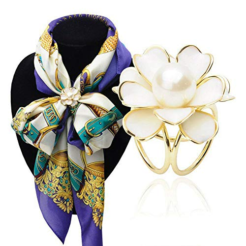 Ladies Fashion 3-Rings Flower Pearl Scarf Buckle Brooch Ring Clip Jewelry