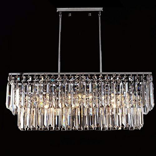 KAIBINY YY Lujo Rectangular K9 araña de Cristal Resplandor LED de la lámpara Pendiente de la Sala Dormitorio Lámparas E14 Luminaria Párrafo habitación