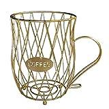 FLAMEER Gran capacidad taza de café soporte para organizador de café cesta de almacenamiento para mesa Bar Cocina - Oro