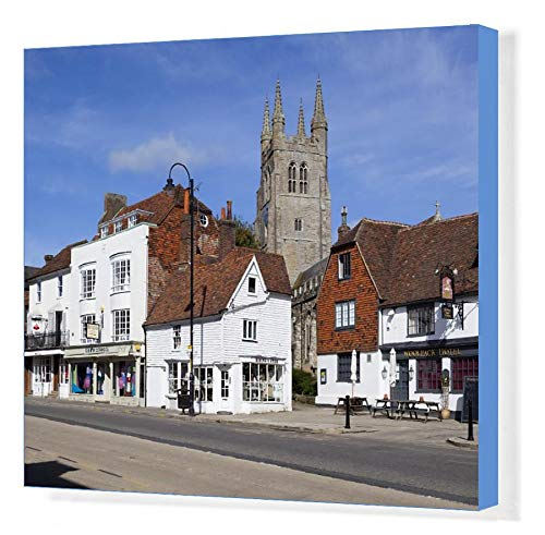 robertharding 20x16 Canvas Print of View of church and Woolpack Hotel, High Street, Tenterden, Kent (9087117)