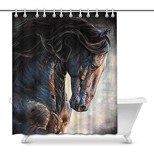 FANCYDAY Vintage Black Frisian Pferd Tier Dekor wasserdicht Polyester Duschvorhang Bad mit Haken