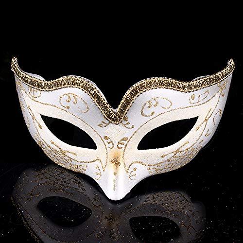 YULEJIA Maskerade Maskers Voor Vrouwen, Venetië Halloween Koppels Party Witte Kinderen Tekenen Half Gezicht Kunststof Masker Carnaval Cosplay Mardi Gras Masker Prom Artiesten Wanddecoratie