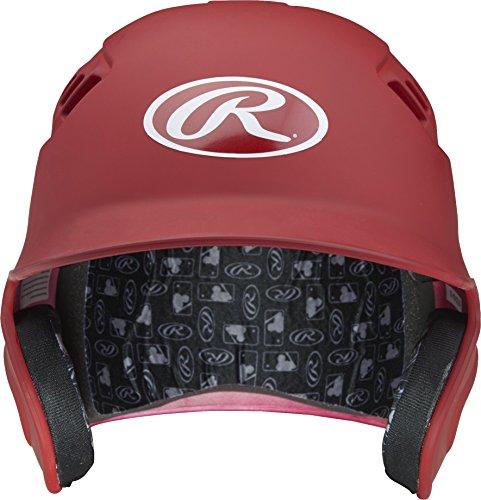 Rawlings Velo Series Alpha Sized Batting Helmet, Matte Scarlet, Large