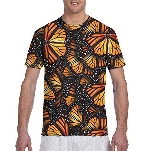Herren T-Shirt Haufen von orangefarbenen Monarchfalter Herren Active Polyester Lightweight Crew T-Shirts für Herren