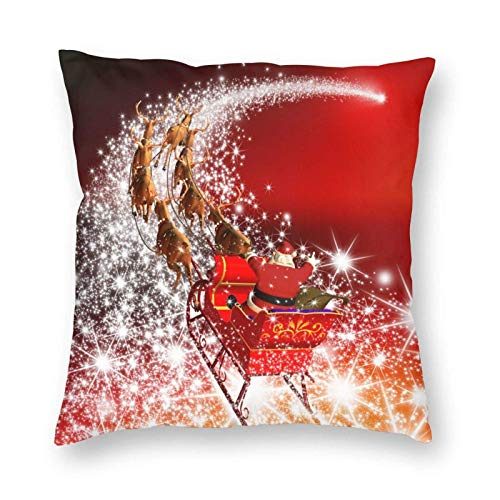 Santa Claus with Reindeer Sleigh Flying Decorative Throw Pillow Covers 18x18 Inch Xmas Pillows Case Square Cushion Cover Cases Pillowcase Sofa Home Decor for Couch Bed Patio Car