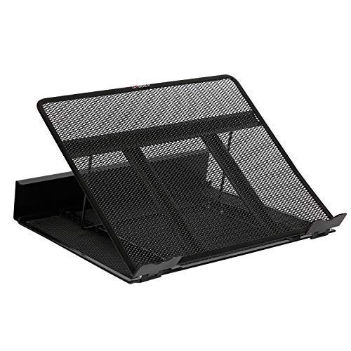 """DESIGNA Metal Mesh Ventilated Adjustable Laptop Stands Computer Notebook Holder Stand Riser Compatible with Apple MacBook Air Pro Dell XPS HP Samsung Lenovo More Laptops up to 19""""- Black"""