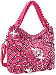 Fuchsia Double Handle Starburst Bling Handbag
