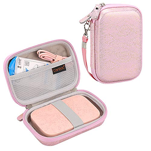 Canboc Shockproof Carrying Case Storage Travel Bag for HP Sprocket Portable Photo Printer and (2nd Edition) / Polaroid Zip Mobile Printer/Lifeprint 2x3 Portable Protective Pouch Box,Pink/Golden