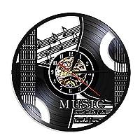 QICH メンズギフト 音楽の装飾 音楽それは私がしていることではなく、私が誰であるか音楽引用ロックンロール家の装飾ギター壁時計ヴィンテージビニールレコード壁時計装飾レコード