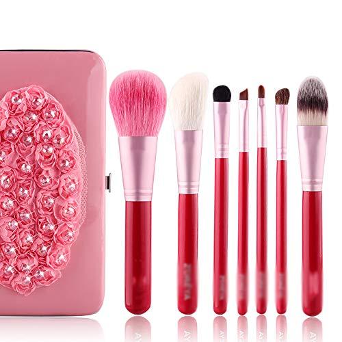 Pinceaux De Maquillage 7 Pcs Pinceau De Maquillage Set, Boîte De Fer Laine De Haute Qualité Brosse De Maquillage Mis En Poudre Pinceau, Contour Angled, Kabuki, Fard À Paupières Pinceau,Rose