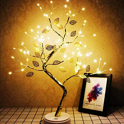Desktop bonsai tree light, with 72 LED gold foil Tree Lights, touch switch, USB/battery power, DIY artificial tree light, used for wedding Christmas interior decoration lights (Golden Leaf warm white)
