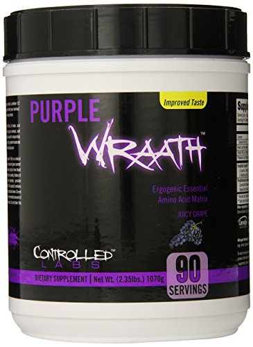 Purple Wraath by Controlled Labs, BCAA and EAA Amino Acid Supplement, 45 or 90 Servings with Endurance Blend Intra Workout Powder, Optimal Endurance, Focus, and Stamina (Juicy Grape, 90 Servings)