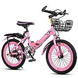 GJ 18/20/22 Pollici Bicicletta Pieghevole Leggero, Piccola Bicicletta Portatile for Ragazzi e Ragazze, Resistente agli Urti, Fune d'Acciaio for i Bambini in Bicicletta all'aperto, 2 Colori