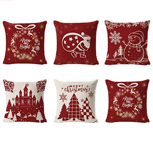 Shengruili 6 Piezas Fundas Navideñas para Cojines,Fundas Cojin Serie De Navidad,Almohada de Navidad Covers,Algodón Lino Throw Pillow Case Funda de Almohada,Funda de cojín de Navidad,45cm x 45cm (Red)