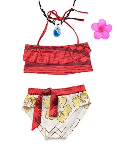 MUABABY Baby Girl Swimwear Digital Print Moana Adventure Bikini with Necklace and Flower (5-6 Years, 80693)