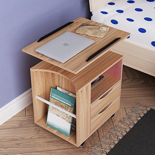 sogesfurniture Mobiler Beistelltisch Nachttisch Nachtschrank mit 2 Schubladen, höhenverstellbarer Sofatisch Laptoptisch für Schlafzimmer, Wohnzimmer, Eiche BHEU-CT1-OK
