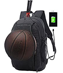 77eb76dcda0 8Business Laptop Backpack, Casual Travel, Sports Backpack with USB Charging  Port, Headphone Jack and Basketball Mesh