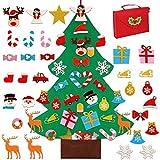 KAHEIGN 95CM Árbol De Navidad De Fieltro con 30 Piezas Desmontable Adornos De Purpurina, Colgar En La Pared Árbol De Navidad DIY (con Bolso Rojo)