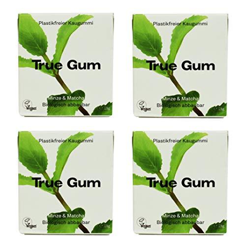 True Gum 4er SET: Pfefferminze & Matcha | Plastikfreier Kaugummi | Biologisch Abbaubar | Vegan | 4 x 21g